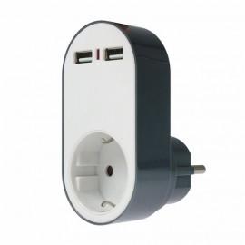 Адаптор със защита срещу пренапрежения 16А, 230V, 2 броя USB-порт AS-Schwabe 18211