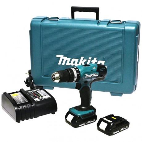 Makita DHP453RFE, Бормашина винтоверт акумулаторна 18.0 V, 3.0 Ah, I/0-400, II/0-1300 об., 42 Nm