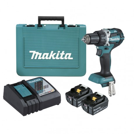 Makita DDF484RTE, Винтоверт акумулаторен 2-скоростен безчетков 18 V, 5 Ah, 0-500 / 0-2000 об./мин, 30/54 Nm