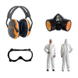Защитен комплект за моторна пръскачка антифони, гащеризон, маска, очила RURIS-10310219