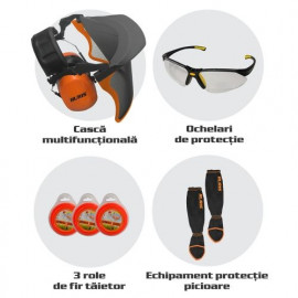 Защитен комплект за моторна коса, каска, очила, екипировка за краката RURIS-23345419
