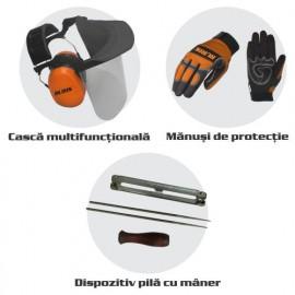 Защитен комплект за моторна резачка каска, ръкавици, пила RURIS-14923519