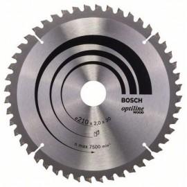 Диск Bosch метален HM за рязане на дърво напречно и надлъжно подаване 165x30x2.6 мм, 48 z, Optiline Wood