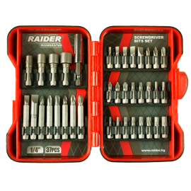 """Накрайници 1/4"""" комплект 37 броя RAIDER"""
