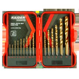 Свредла за метал Ø 1,5-10 мм комплект 15 броя HSS+TIN RAIDER