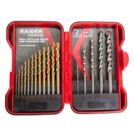 Свредла за метал и бетон Ø 1,5-10 мм комплект 17 броя RAIDER