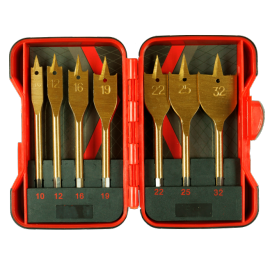 "Свредла за дърво плоски 1/4"" HEX Ø 10-32 мм комплект 7 броя RAIDER"