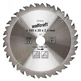 Диск циркулярен за дърво Ø 160х20х2.4, z20, 6733000 Wolfcraft